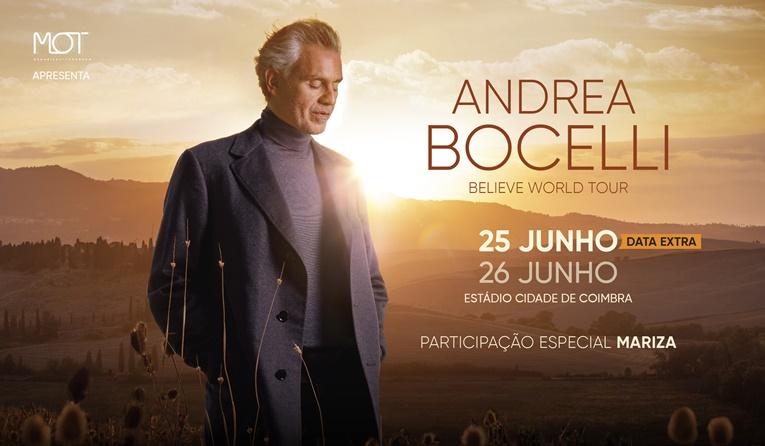 """Rádio Regional do Centro: Estádio """"Cidade Coimbra"""" acolhe concertos de Andrea Bocelli a 25 e 26 de junho"""